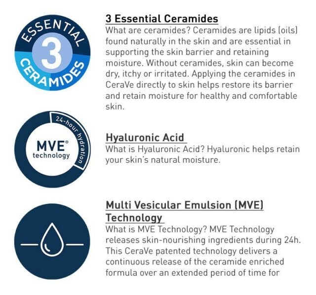 CeraVe Technology The Cerave range is designed with moisturising MultiVesicular Technology [MVE] to maintain hydration levels in the skin for 24 hours.