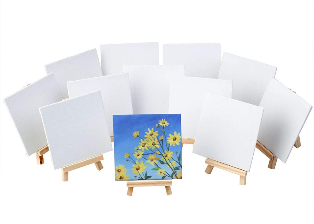 MEEDEN 12 Pack 4 by 4 Inch Mini Canvas Panels Combined with 5 Inch Tiny Pine Wood Display Holder Easels for Painting Party, Kids Crafts, Small Acrylics Oil Projects